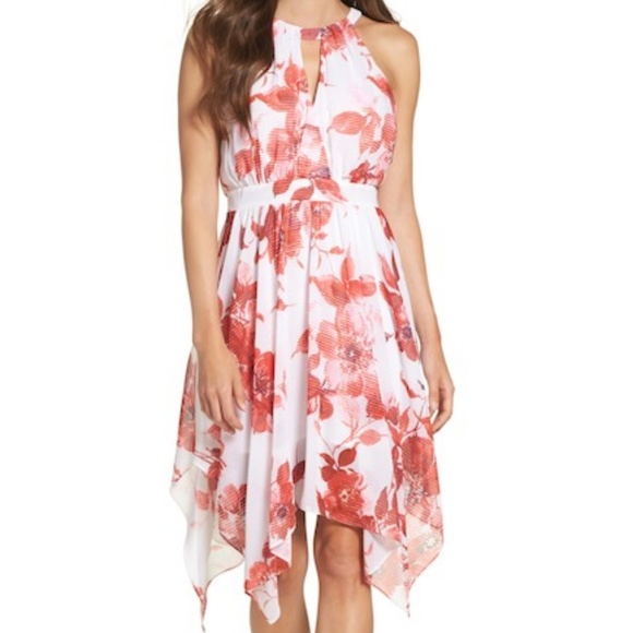 6d80f2b1b88f Betsey Johnson Dresses & Skirts - Betsey Johnson Chiffon Halter Dress Red  Floral